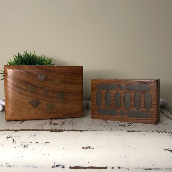 Boho Wooden Brass Inlay Boxes
